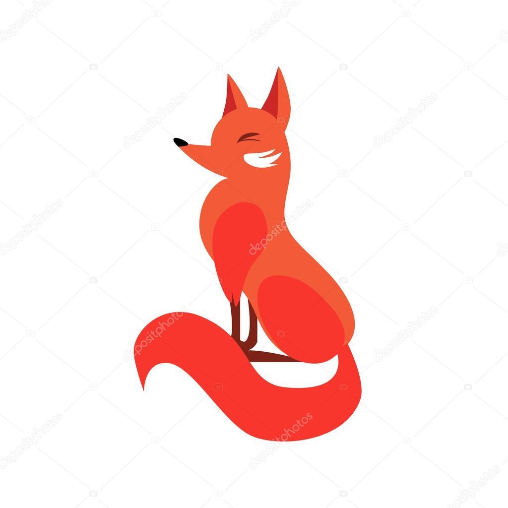 Sitting Fox In Flat Style. Vector Illustration