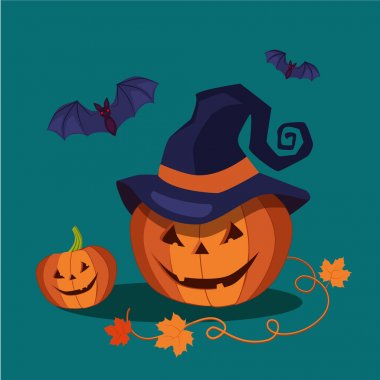 Carved Halloween Pumpkin Wearing a Pointed Witch Hat