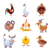 Fotografie Farm Animal und Vögel Vektor-Illustration Set. Flaches Design