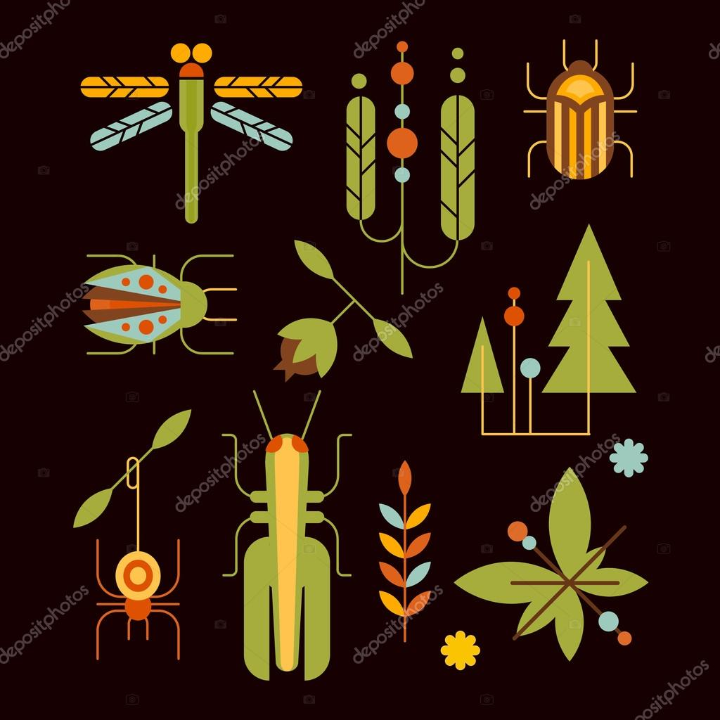 Nature, Insects, Leaves and Tree Icons