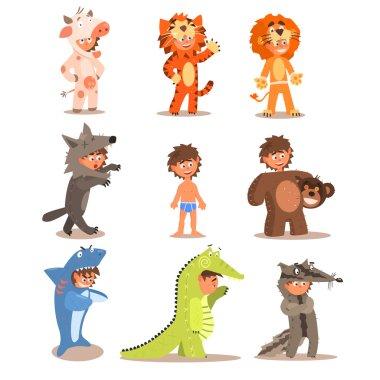 Little Boys Wearing Animal Costumes.