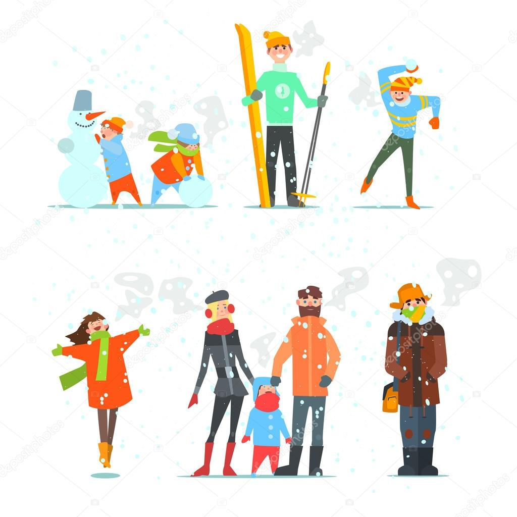 People in Winter and Activities
