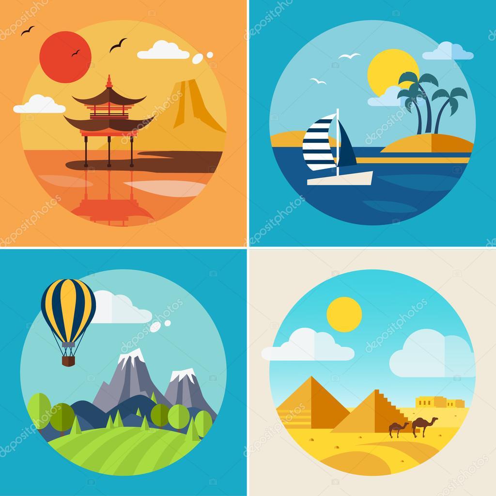 Summer Vacation Landscape Illustrations Set