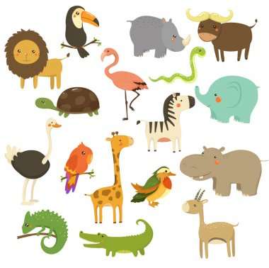 Cute Woodland and Jungle Animals Vector Set