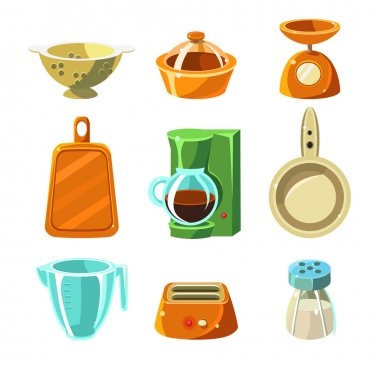 Kitchen Utensils, kitchen items Vector Illustration Collection clip art vector