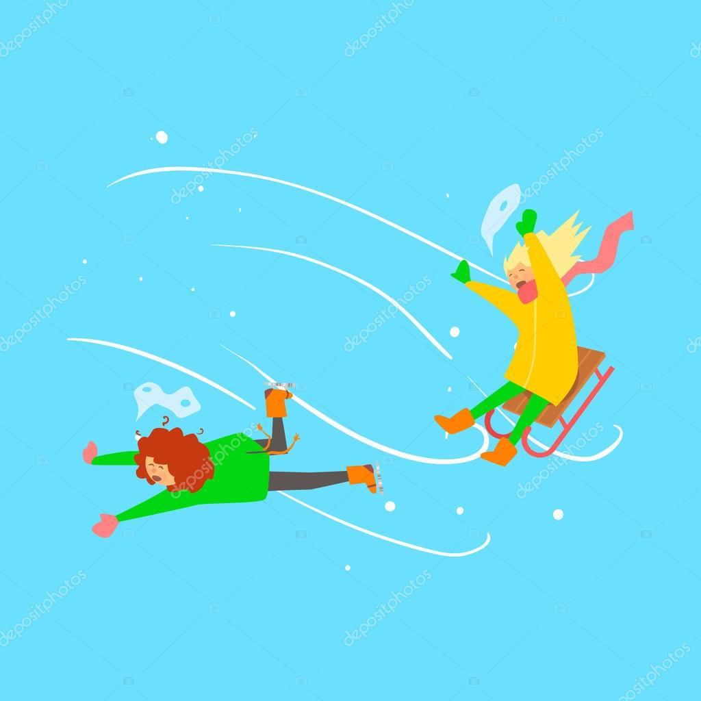 684b6e46750e Girls Sledging. Winter Vector Illustration — Stock Vector ...
