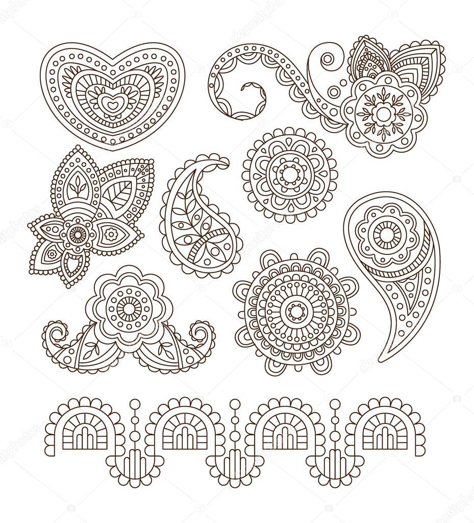 Indian Floral Ornaments Mandala Henna Vector Illustration Stock