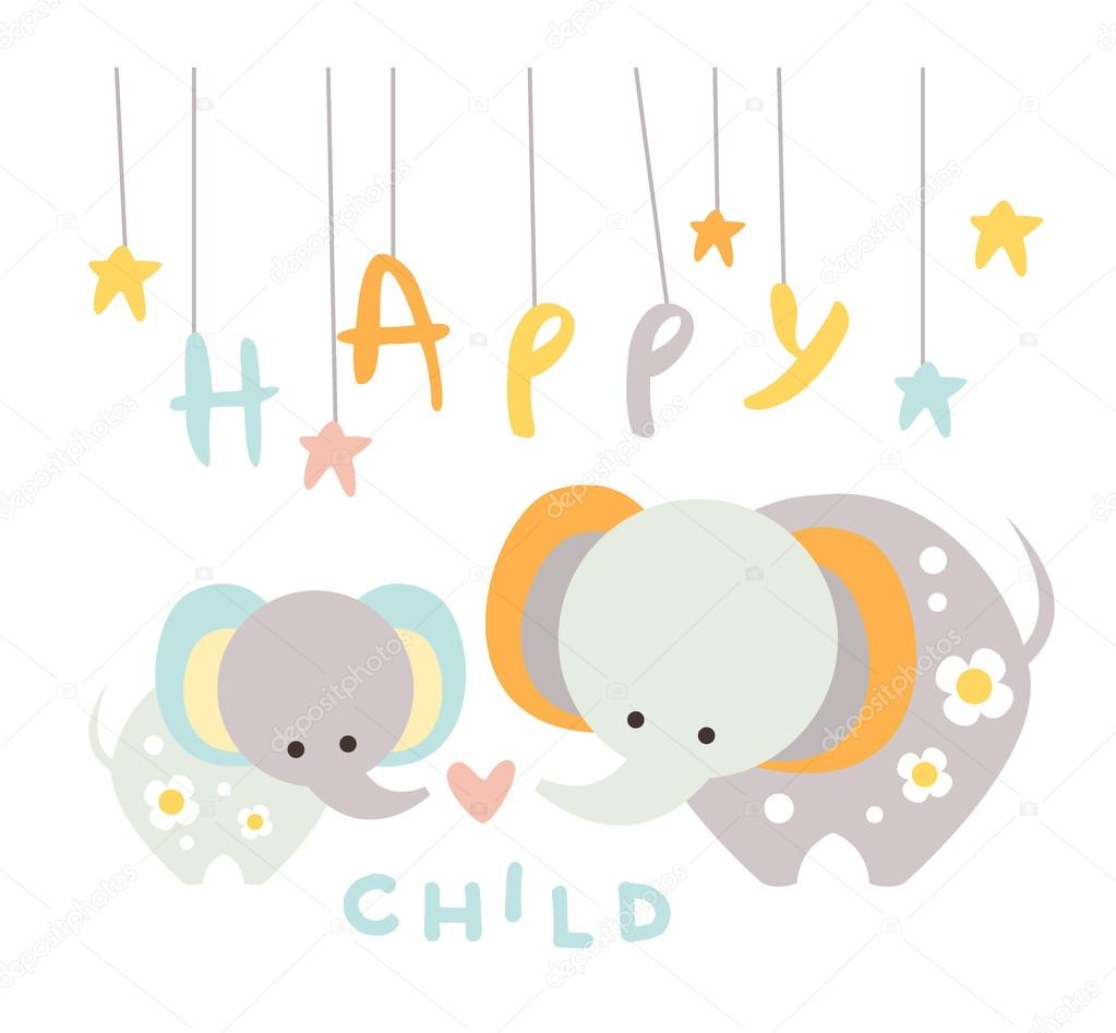 Small Elephant with Mom. Vector Illustration in Flat Style
