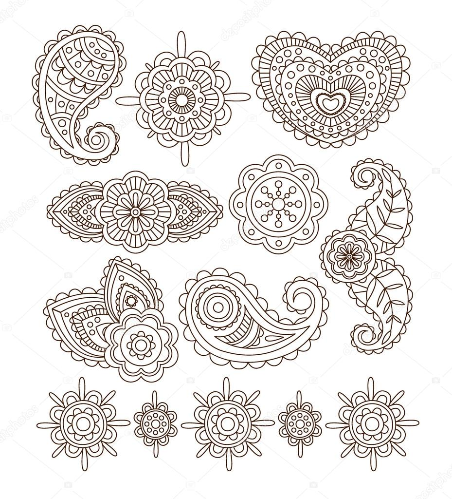 Indian Floral Ornaments Mandala Henna Vector Illustration Set