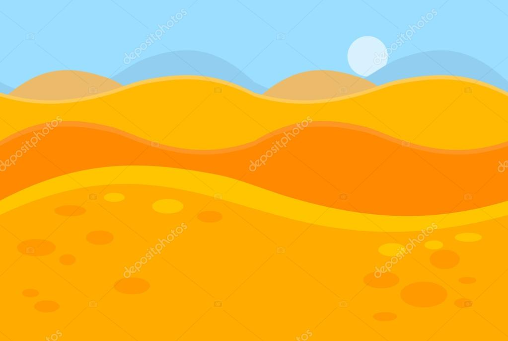 Cartoon Landscape of Yellow Desert