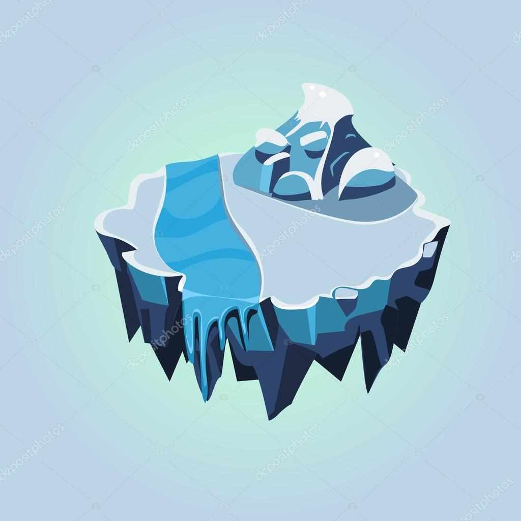 Cartoon Isometric Icy Island