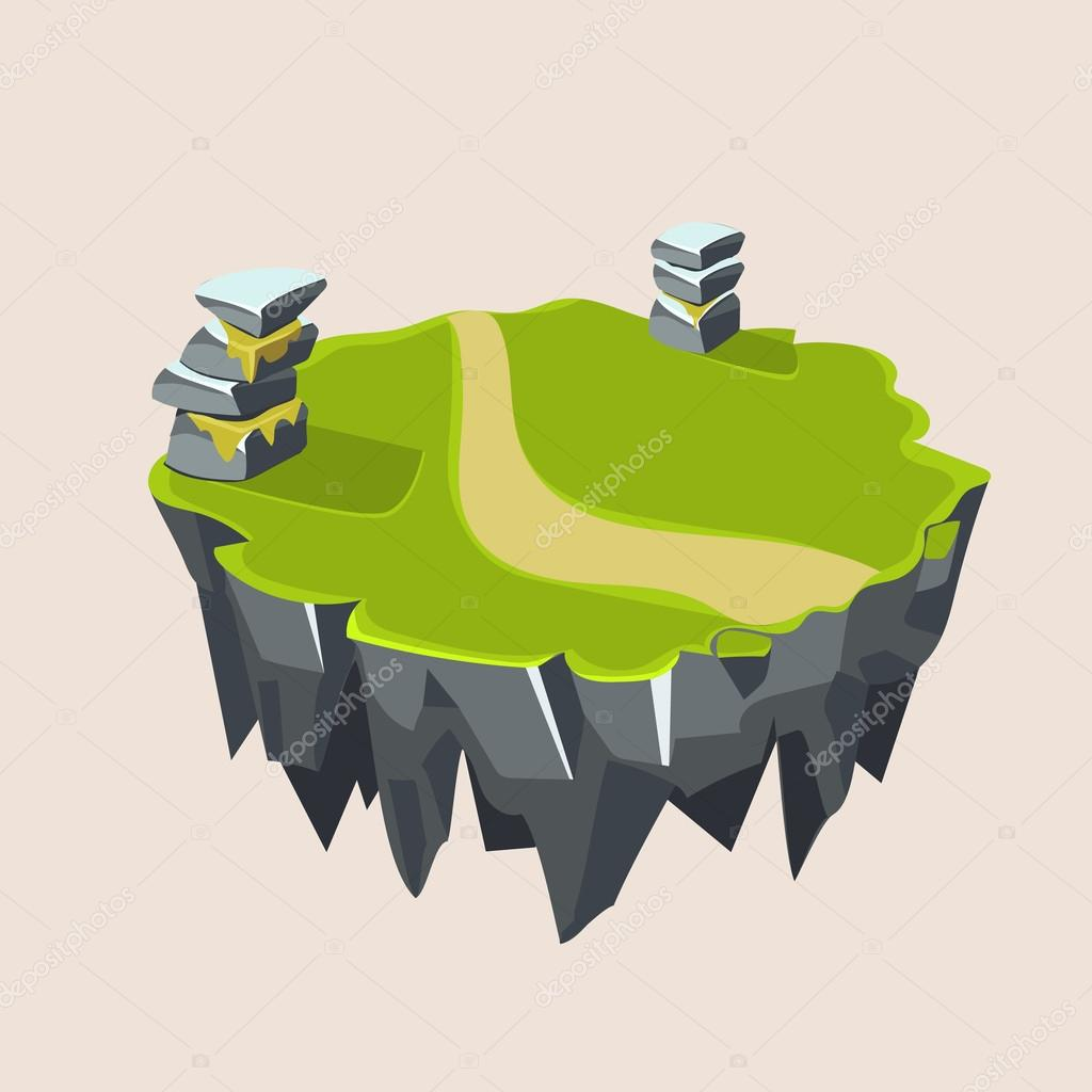 Cartoon Stone Grassy Isometric Island