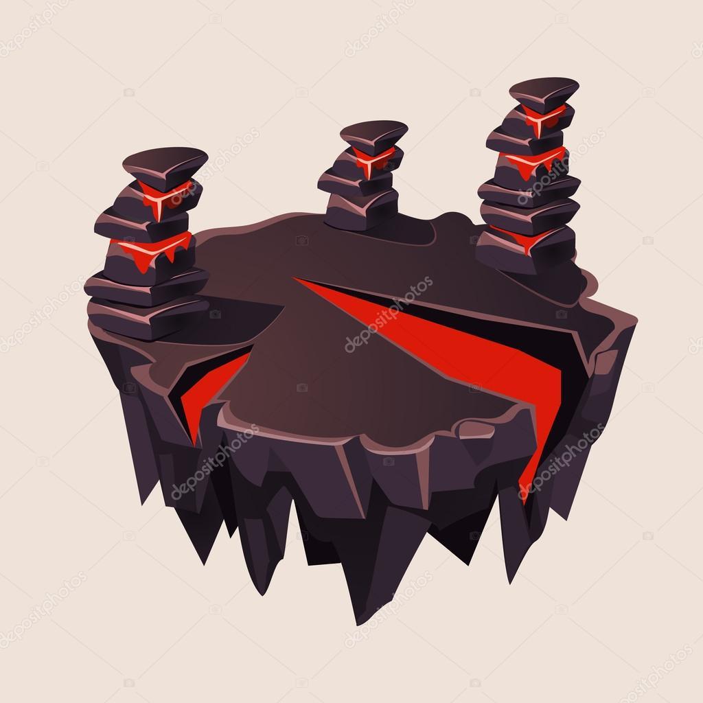 Cartoon Stone Isometric Island