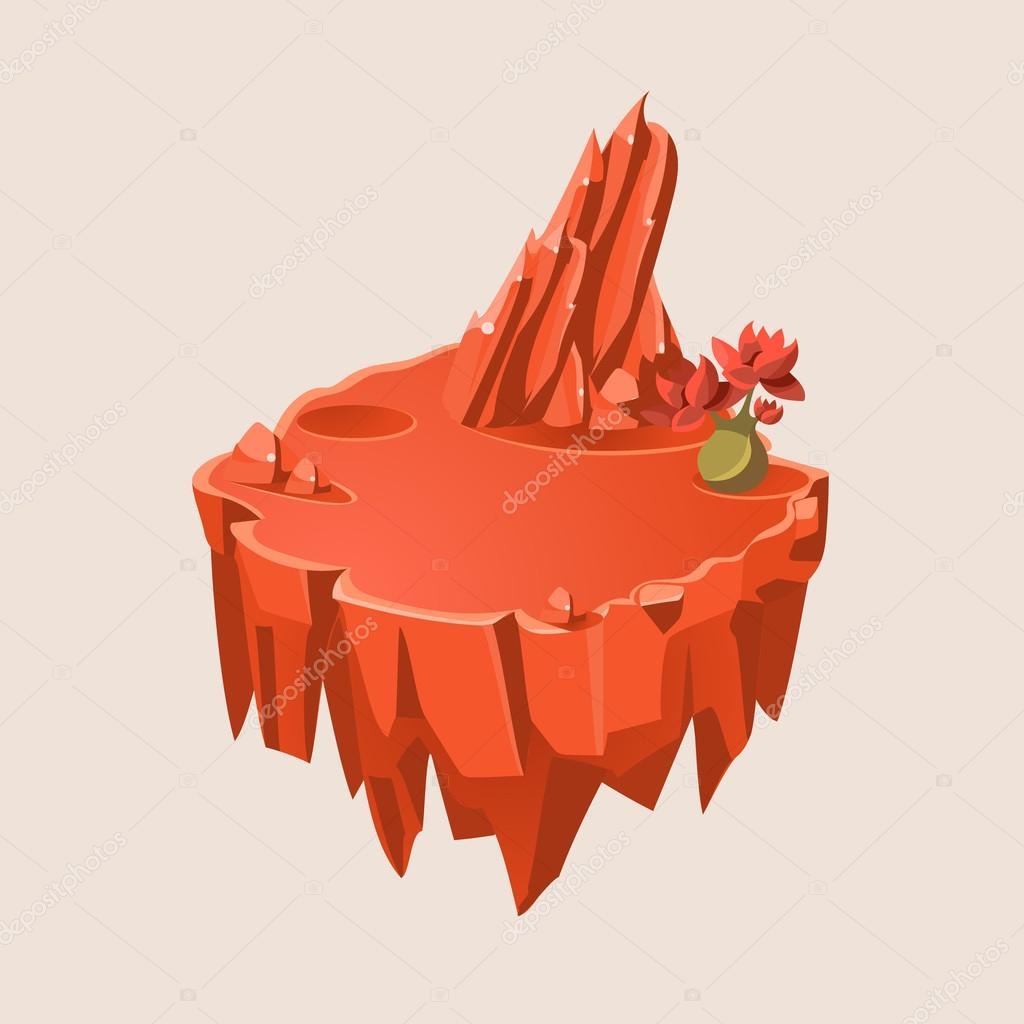 Cartoon Orange Stone Isometric Island