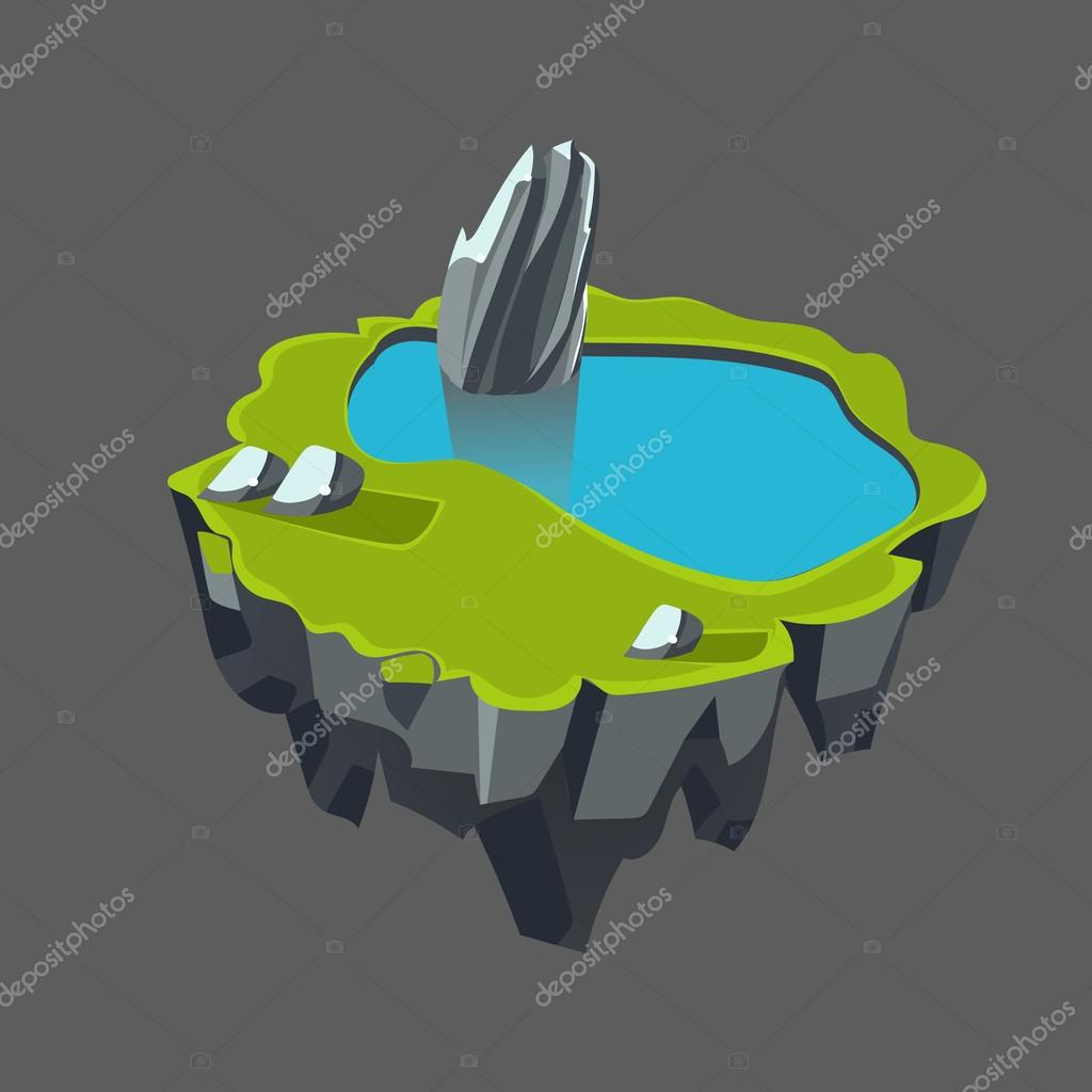 Cartoon Stone Isometric Island