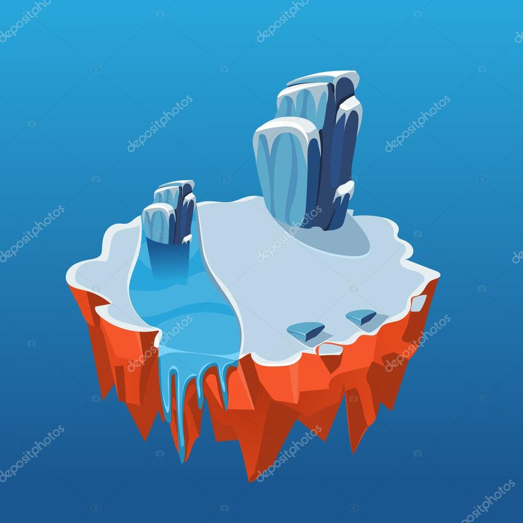 Cartoon Isometric Icy Island for Game