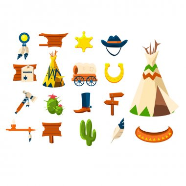 cowboy objects icons set