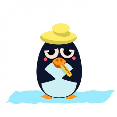 Sick Penguin with Thermometer.