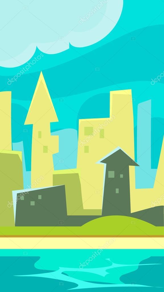 Green City Vertical Landscape Illustration
