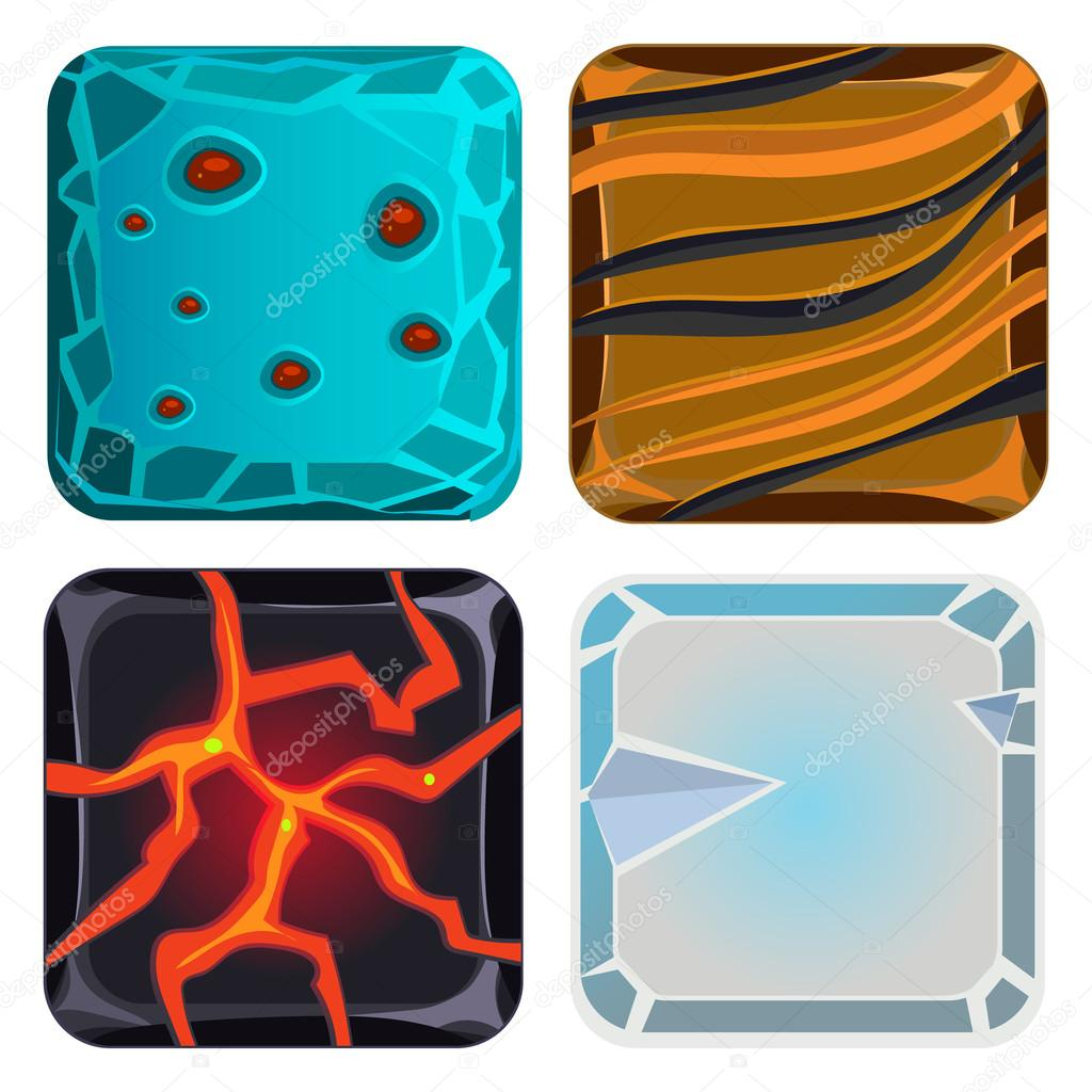 Different Materials and Textures for Game. Icon Vector Set