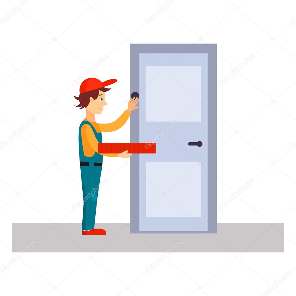 Delivery Man Knocking at Door \u2014 Stock Vector  sc 1 st  Depositphotos & Delivery Man Knocking at Door \u2014 Stock Vector © TopVectors #92025638