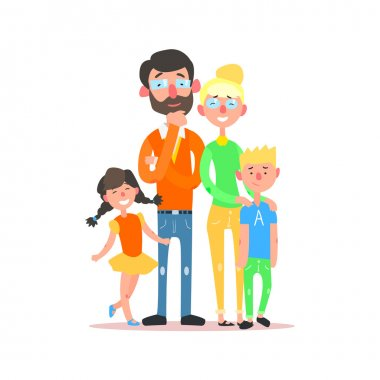 Happy Family with Parents Wearing Glasses. Vector Illustration