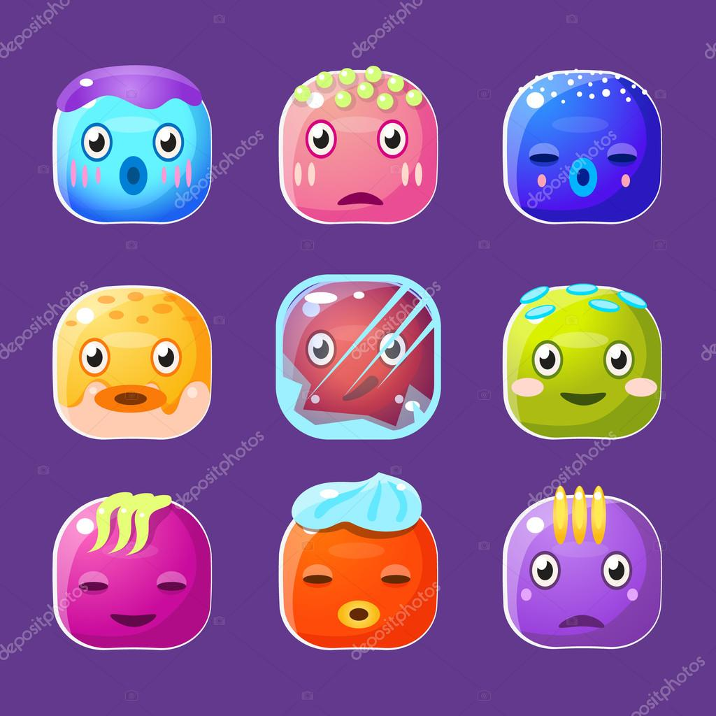 Funny colorful square faces set emotional cartoon vector avatars stock vector