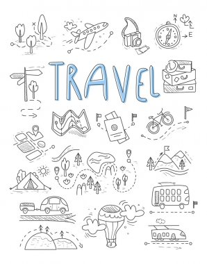 Travel, camping icons
