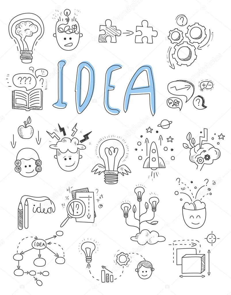 Idea, brainstorming icons