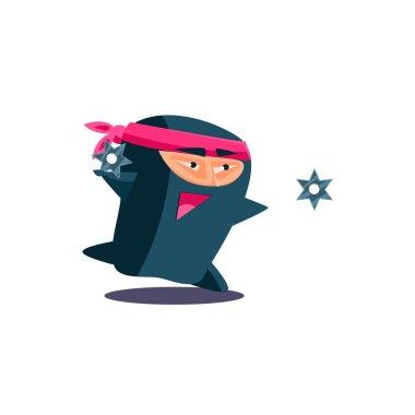 Cute Emotional Ninja Throwing a Shuriken