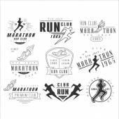 Fotografia Running club etichette, emblemi e vettore di elementi di disegno