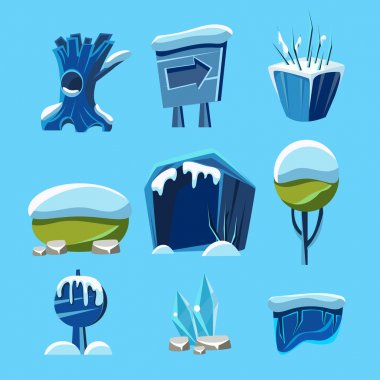 Cartoon Vector Winter Game Nature Elements