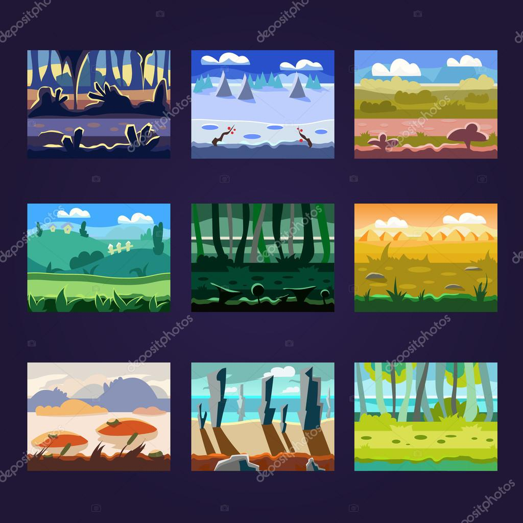 Set of Seamless Cartoon Landscapes for Game Design