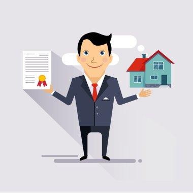House Insurance Contract Vector Illustartion