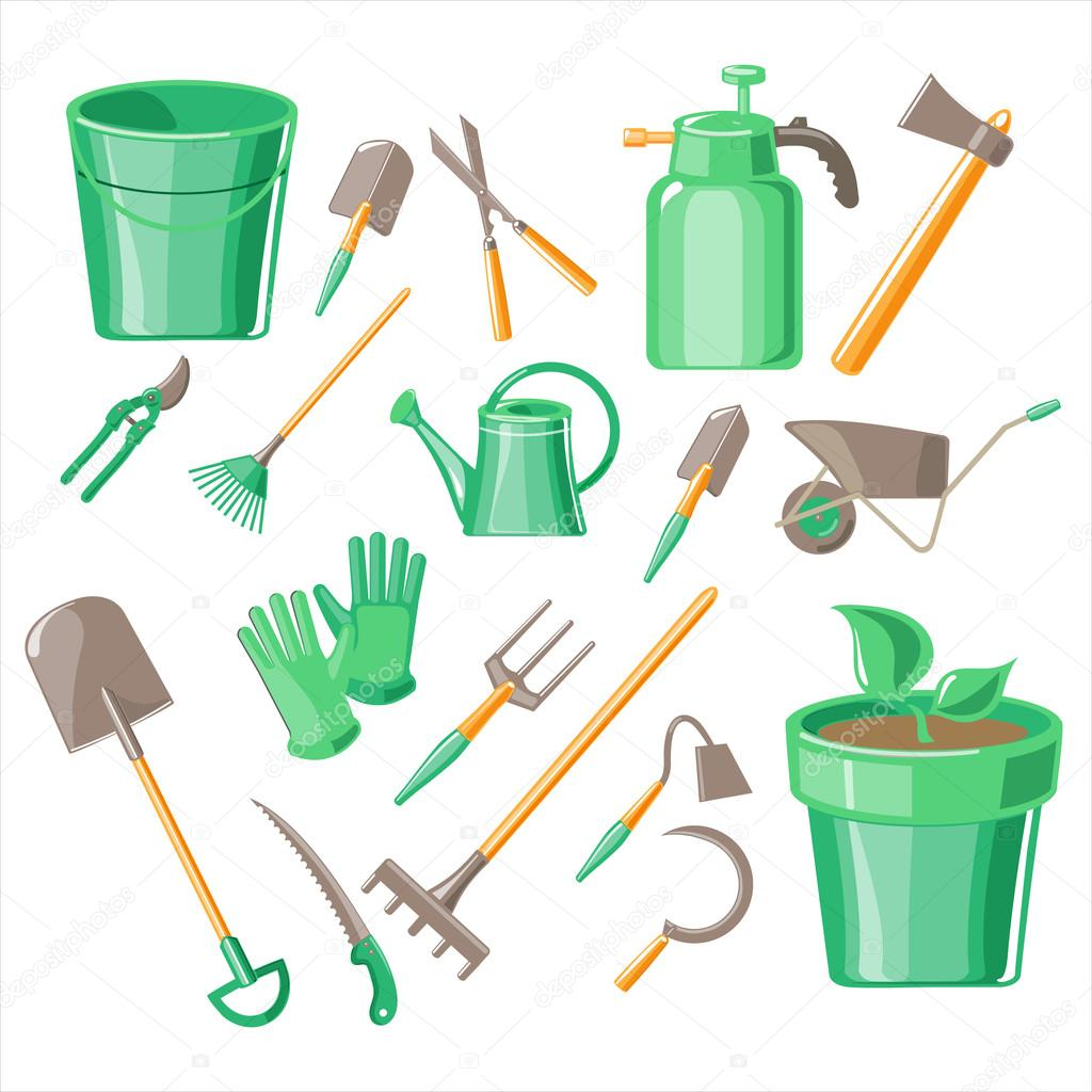 Gardening Tools Vector Illustration Set