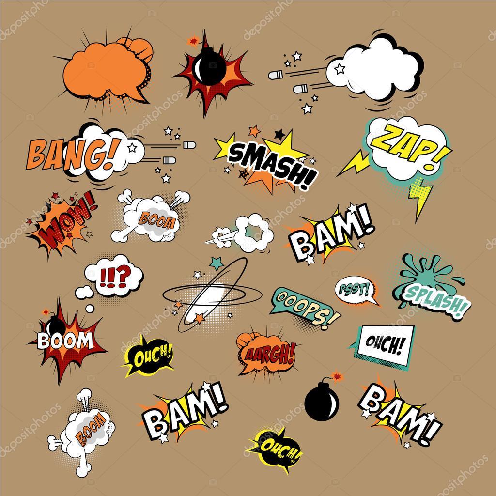 Comics-Sound-Effekte und Explosionen — Stockvektor © TopVectors ...