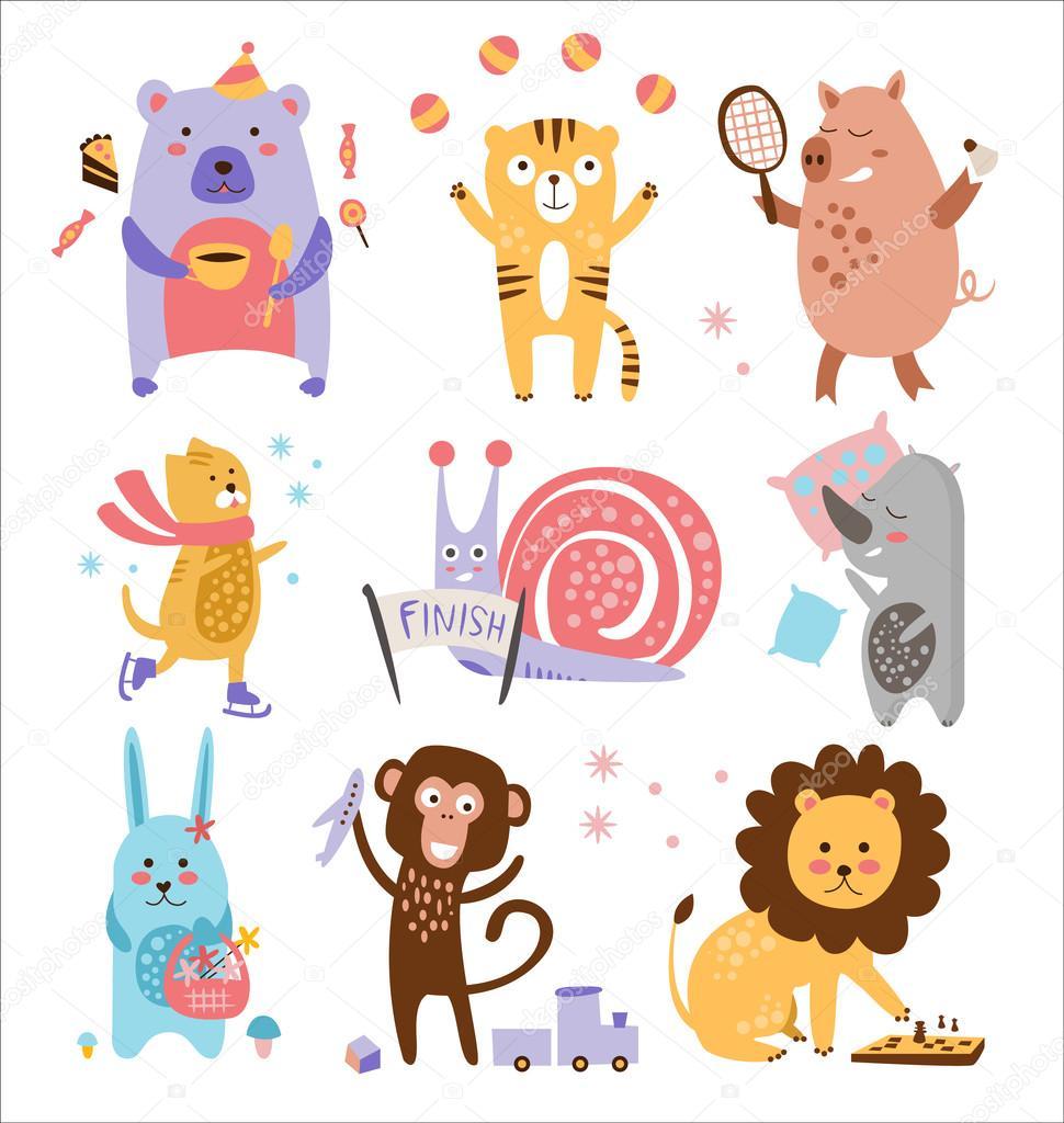 カラフルな幼稚な動物ベクター セット — ストックベクター © topvectors