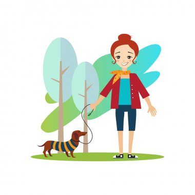 Walking a Dog. Daily Routine Activities of Women. Vector Illustration