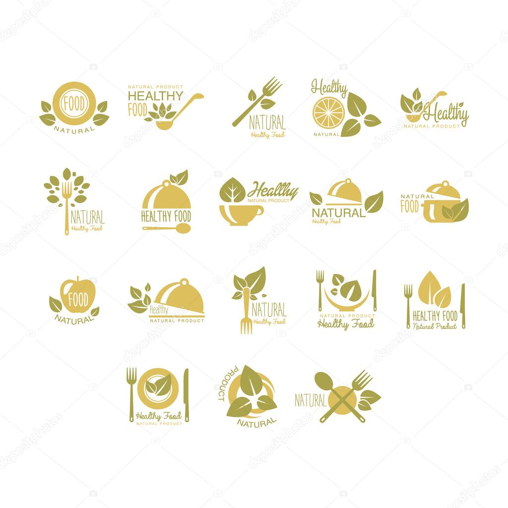 Labels for Organic, Healthy Eco Food. Vector Set