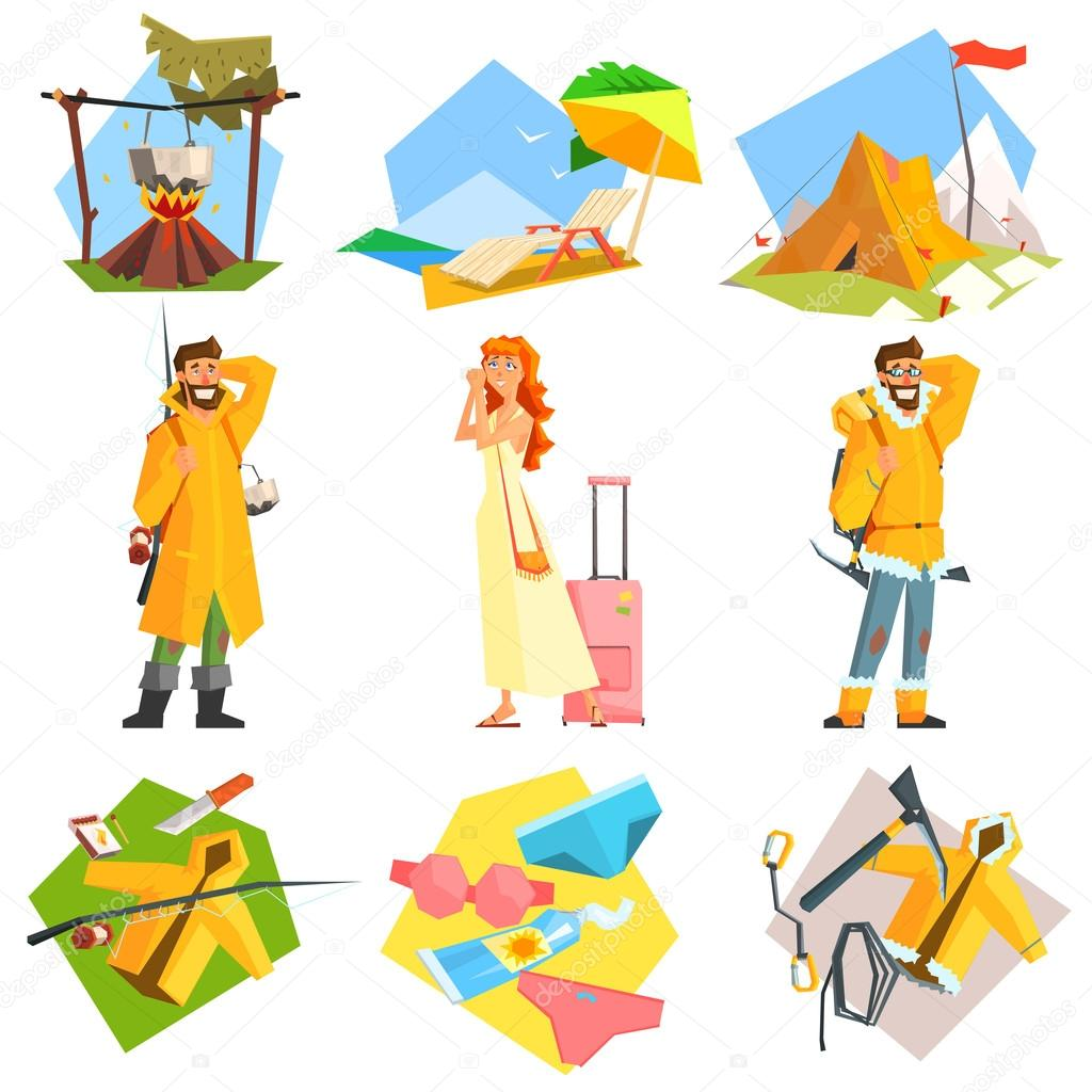 Travel and Vacation.  Vector