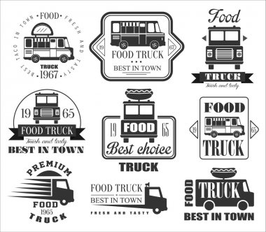 Food Truck Emblems, Icons and Badges.