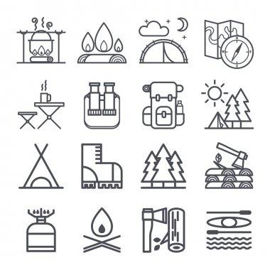 Set of Camping Equipment Symbols