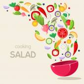 Cooking Salad. Vector Illustration