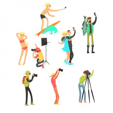 Creative People Posing while Photographer Taking Photos. Vector Illustration Collection stock vector