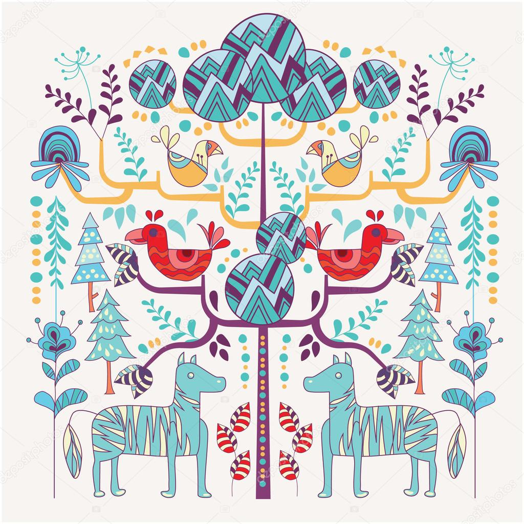 北欧風イラスト花と動物 — ストックベクター © kupritz #120536252