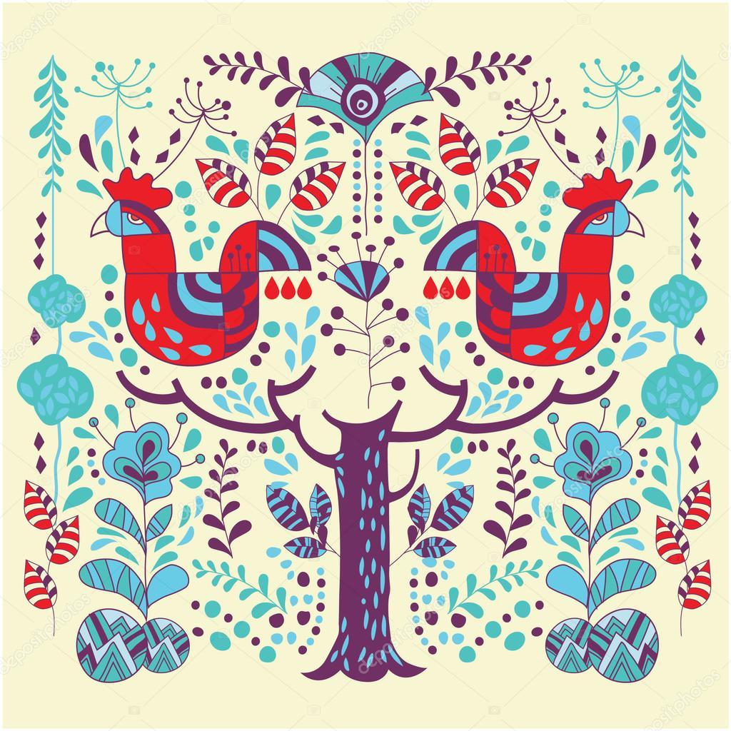 北欧風イラスト花と動物 — ストックベクター © kupritz #120536256