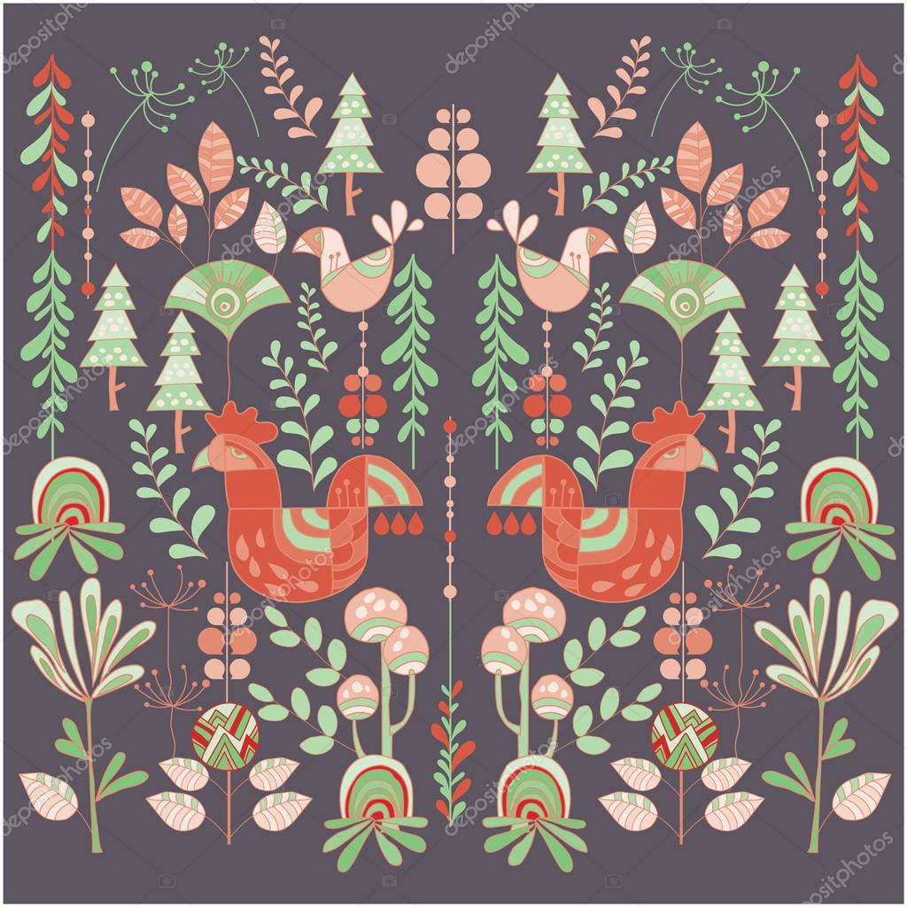 北欧風イラスト花と動物 — ストックベクター © kupritz #120536260