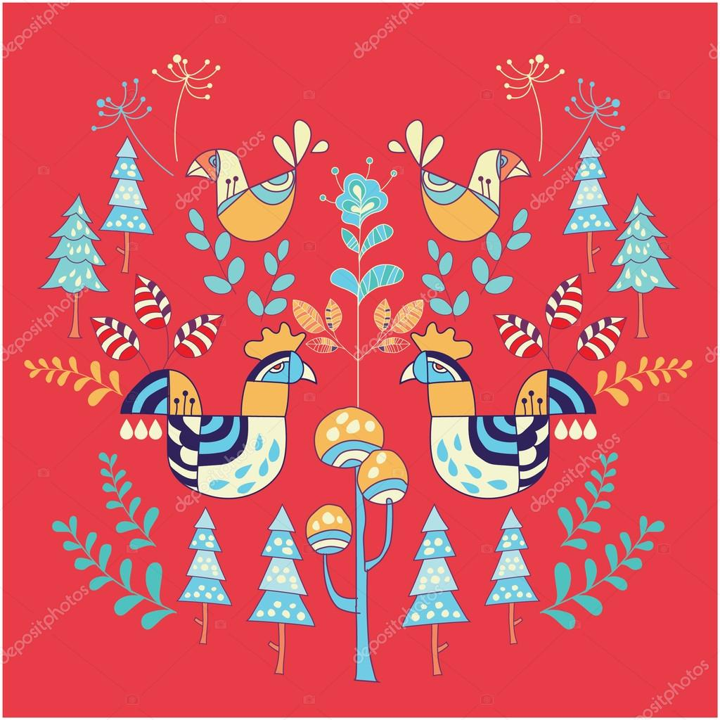 北欧風イラスト花と動物 — ストックベクター © kupritz #120536264