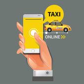 Vektorové ilustrace konceptu taxi služby. Smartphone a dotykovým displejem
