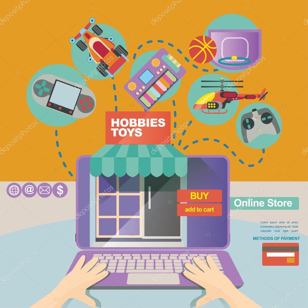 Concepto de ilustración y banner plantilla para tienda online y ...